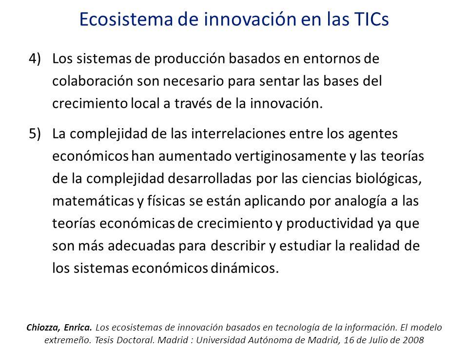 Ecosistema de innovación en las TICs 4)Los sistemas de producción basados en entornos de colaboración son necesario para sentar las bases del crecimie