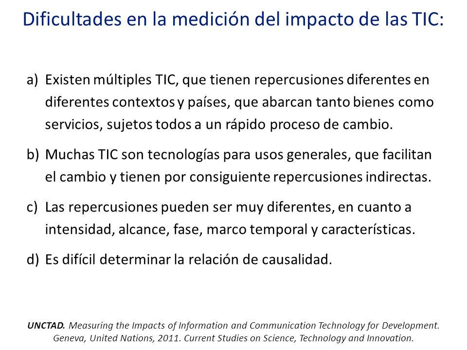Dificultades en la medición del impacto de las TIC: a)Existen múltiples TIC, que tienen repercusiones diferentes en diferentes contextos y países, que