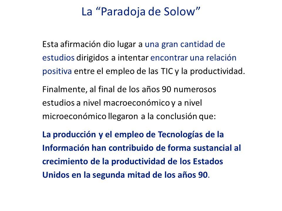 Esta afirmación dio lugar a una gran cantidad de estudios dirigidos a intentar encontrar una relación positiva entre el empleo de las TIC y la product