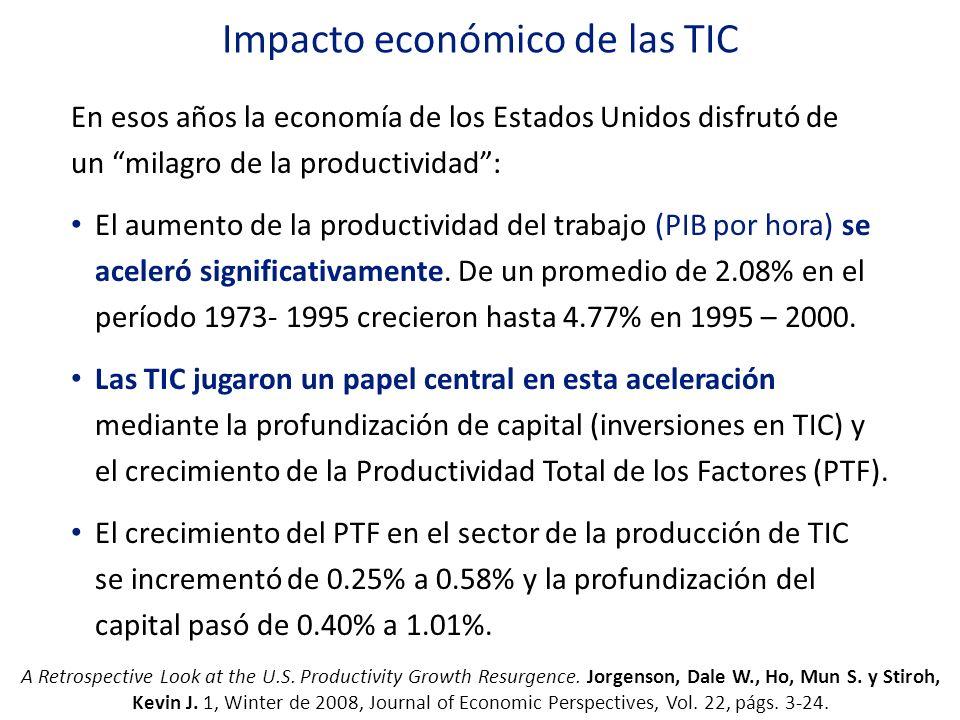 Impacto económico de las TIC En esos años la economía de los Estados Unidos disfrutó de un milagro de la productividad: El aumento de la productividad