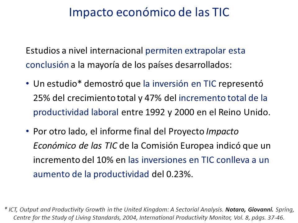 Impacto económico de las TIC Estudios a nivel internacional permiten extrapolar esta conclusión a la mayoría de los países desarrollados: Un estudio*