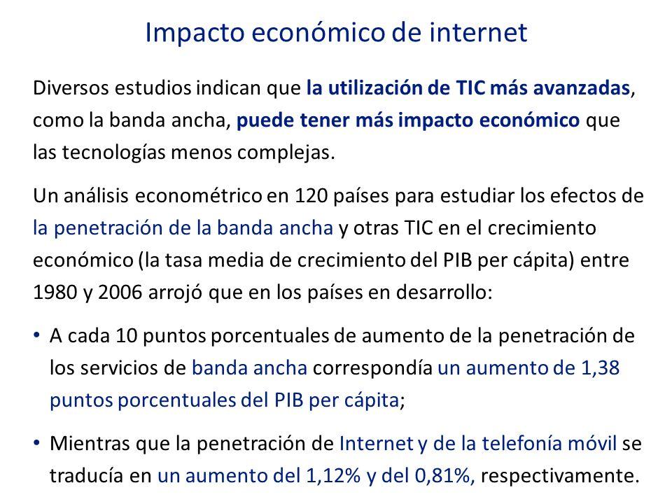 Diversos estudios indican que la utilización de TIC más avanzadas, como la banda ancha, puede tener más impacto económico que las tecnologías menos co