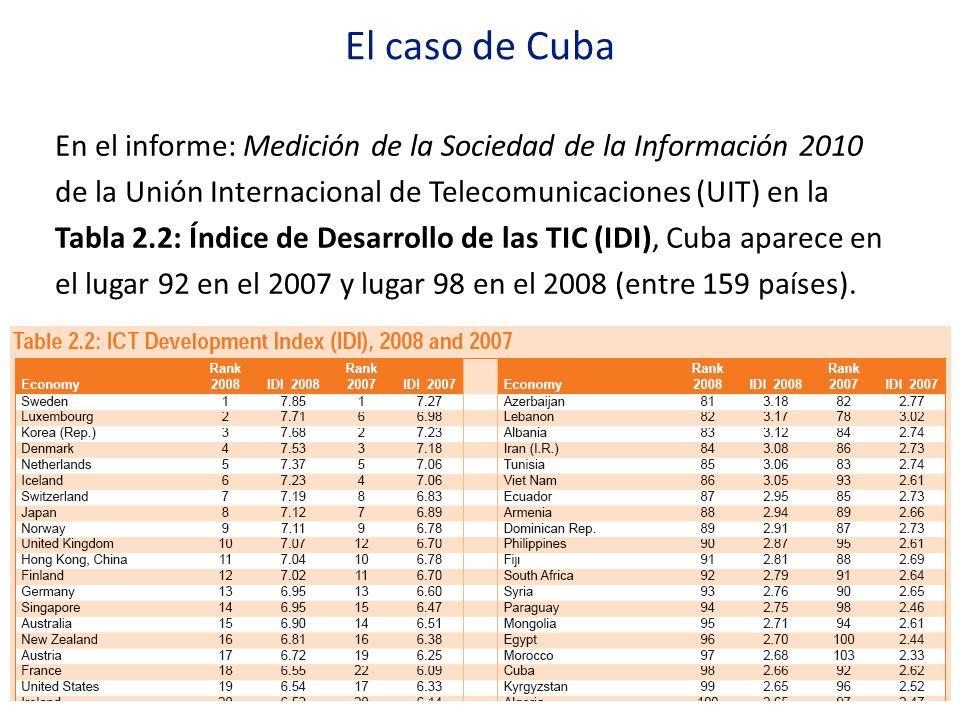 El caso de Cuba En el informe: Medición de la Sociedad de la Información 2010 de la Unión Internacional de Telecomunicaciones (UIT) en la Tabla 2.2: Í