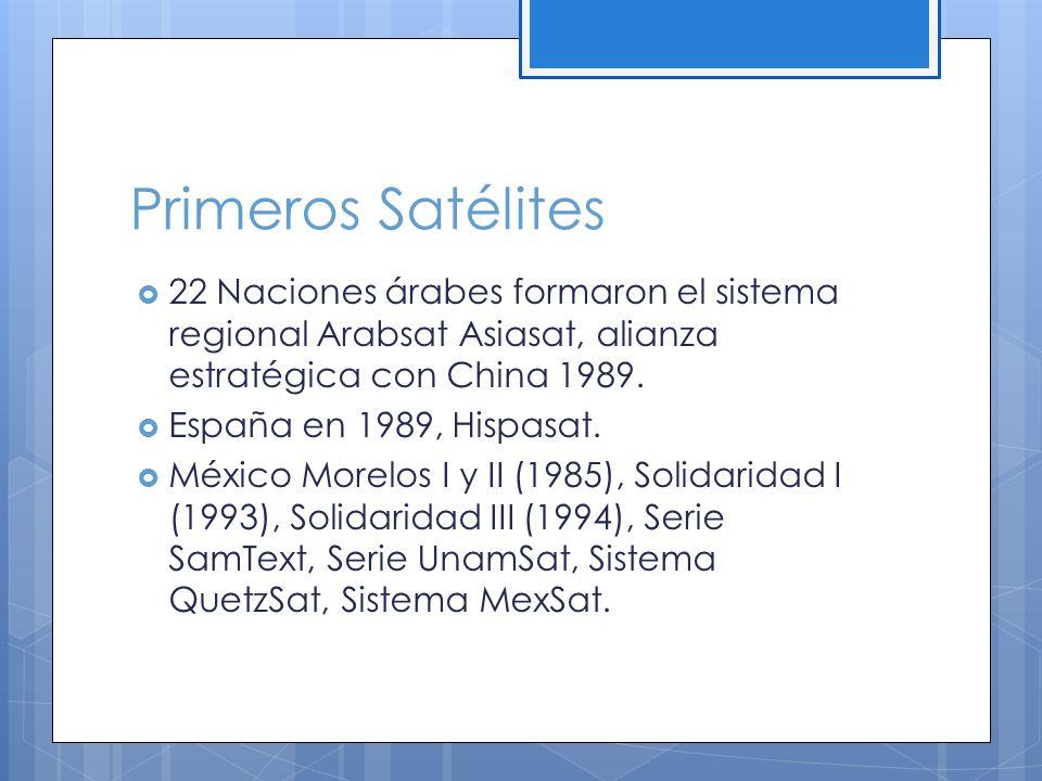 Primeros Satélites 22 Naciones árabes formaron el sistema regional Arabsat Asiasat, alianza estratégica con China 1989.