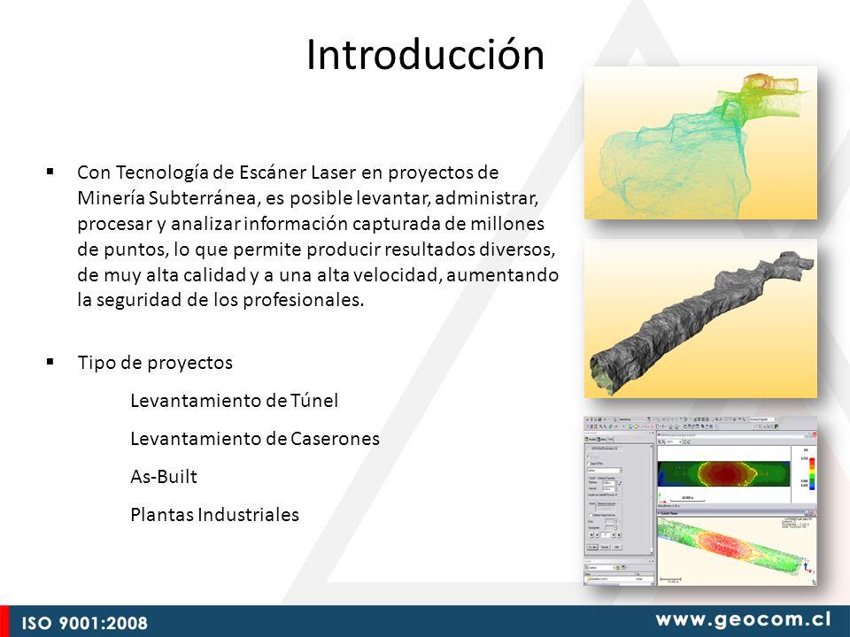 Introducción Con Tecnología de Escáner Laser en proyectos de Minería Subterránea, es posible levantar, administrar, procesar y analizar información ca