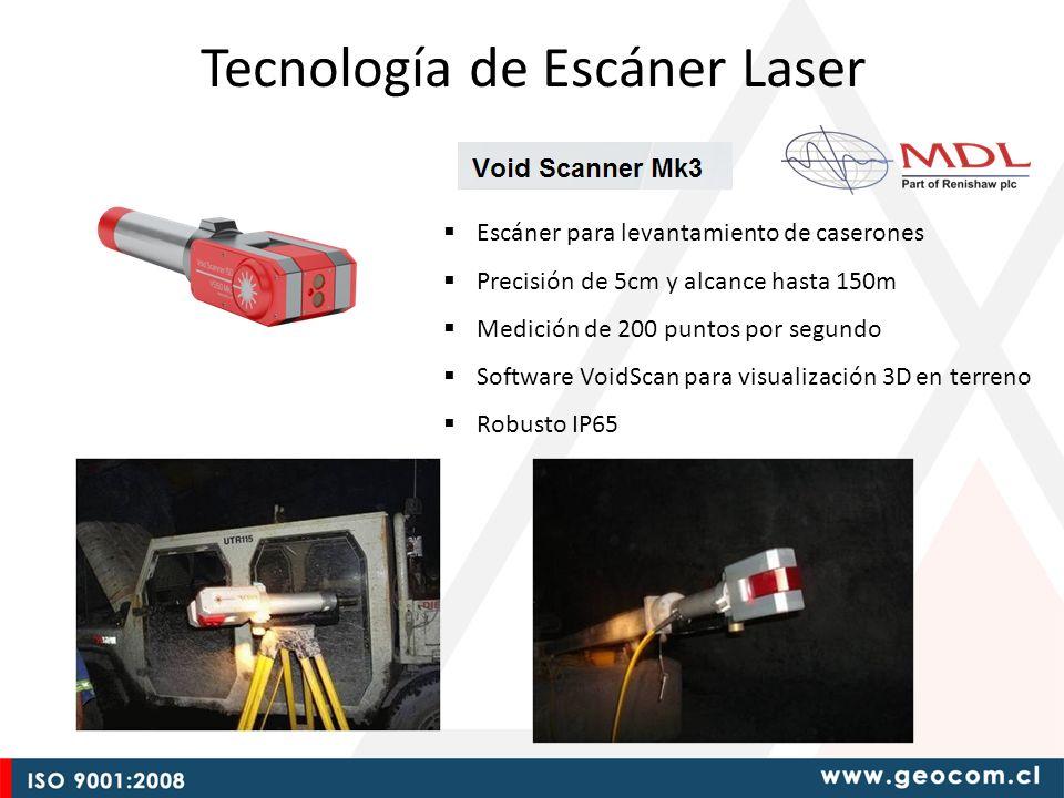 Escáner para levantamiento de caserones Precisión de 5cm y alcance hasta 150m Medición de 200 puntos por segundo Software VoidScan para visualización