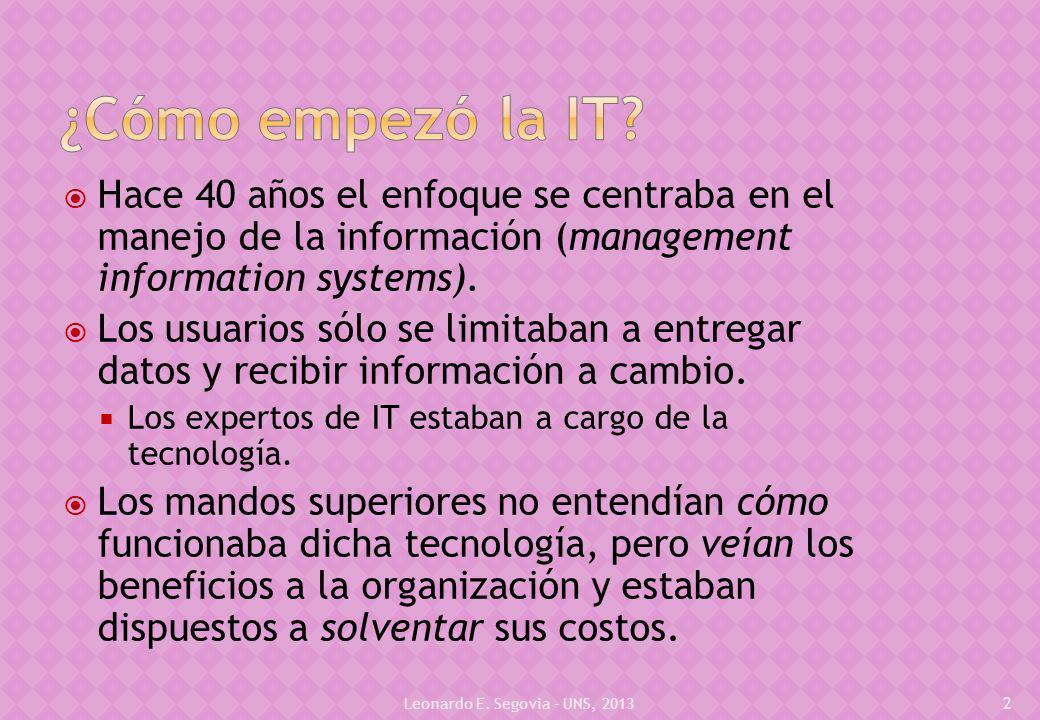 Hace 40 años el enfoque se centraba en el manejo de la información (management information systems).
