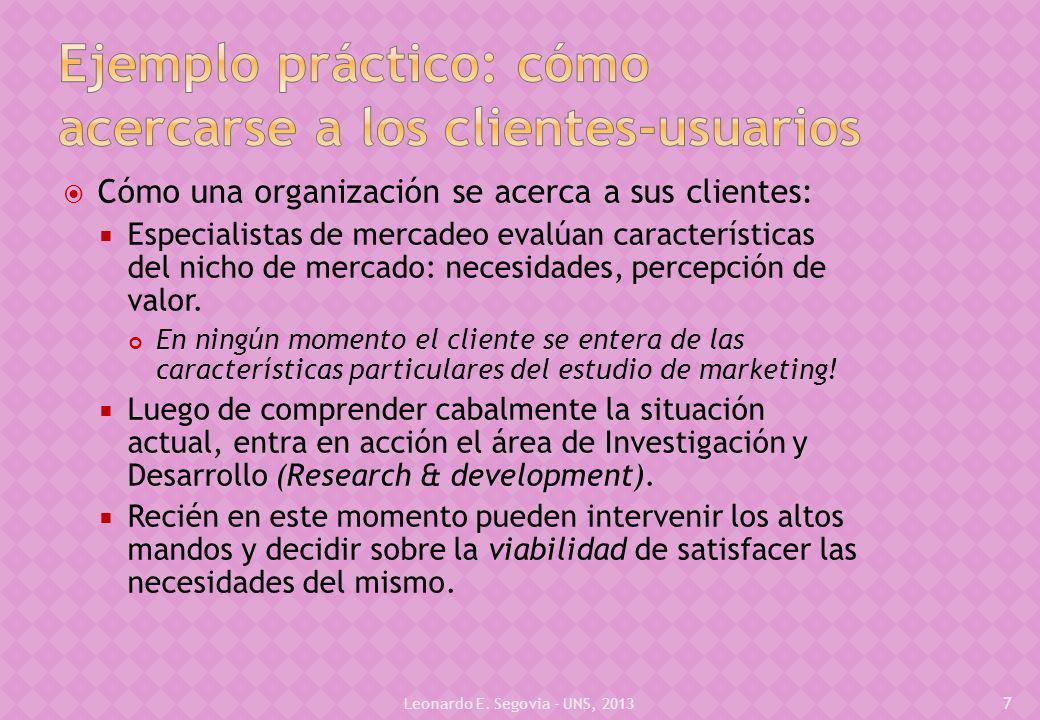 Cómo una organización se acerca a sus clientes: Especialistas de mercadeo evalúan características del nicho de mercado: necesidades, percepción de valor.