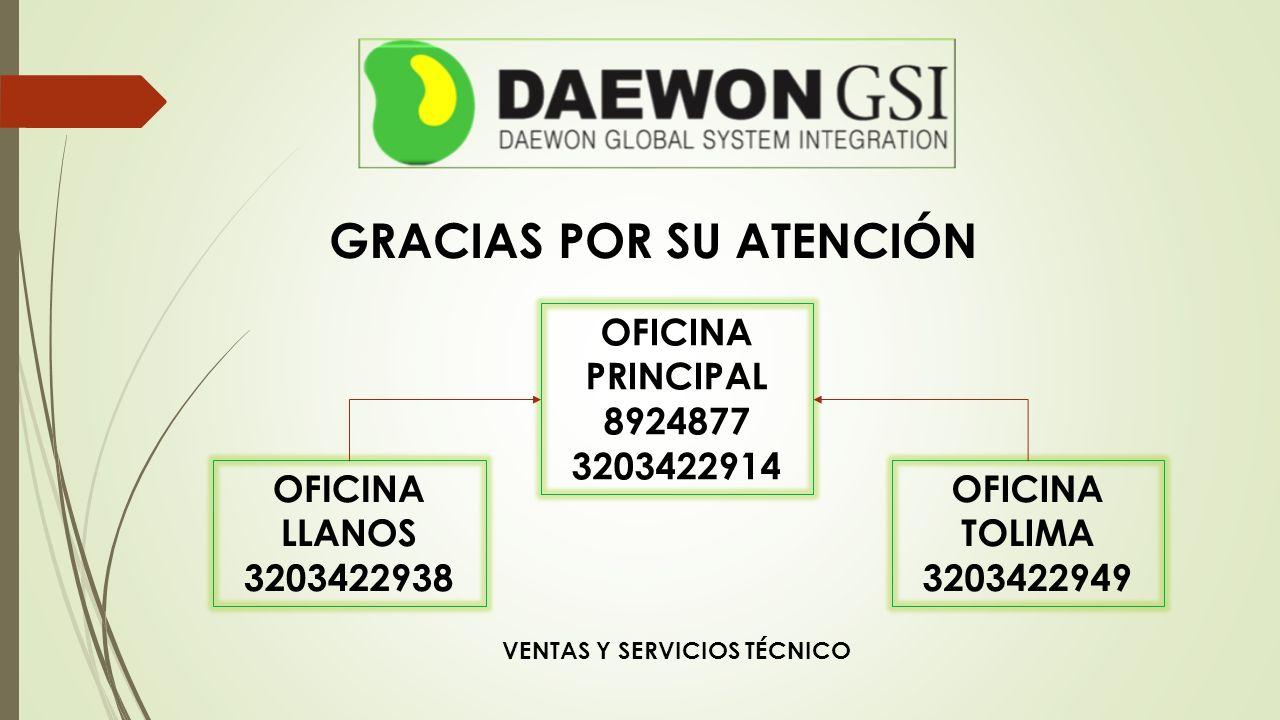 GRACIAS POR SU ATENCIÓN OFICINA PRINCIPAL 8924877 3203422914 OFICINA TOLIMA 3203422949 OFICINA LLANOS 3203422938 VENTAS Y SERVICIOS TÉCNICO