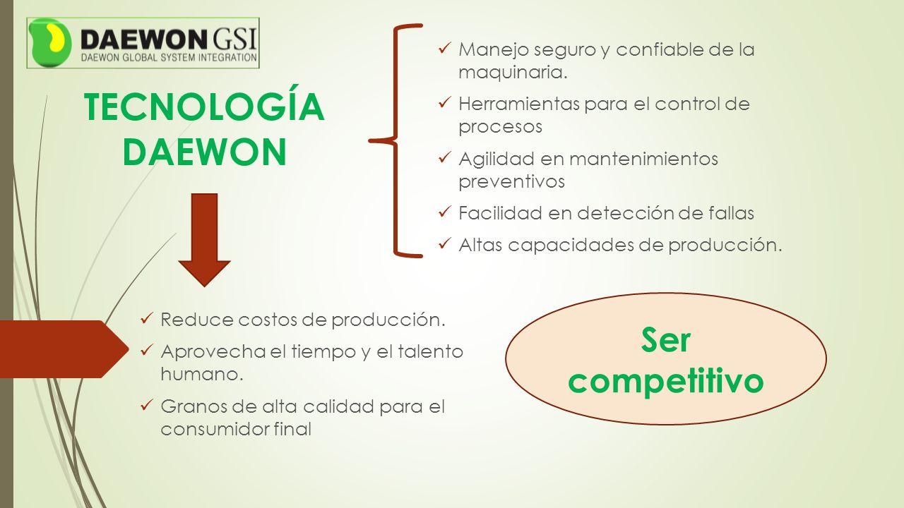 TECNOLOGÍA DAEWON Manejo seguro y confiable de la maquinaria. Herramientas para el control de procesos Agilidad en mantenimientos preventivos Facilida