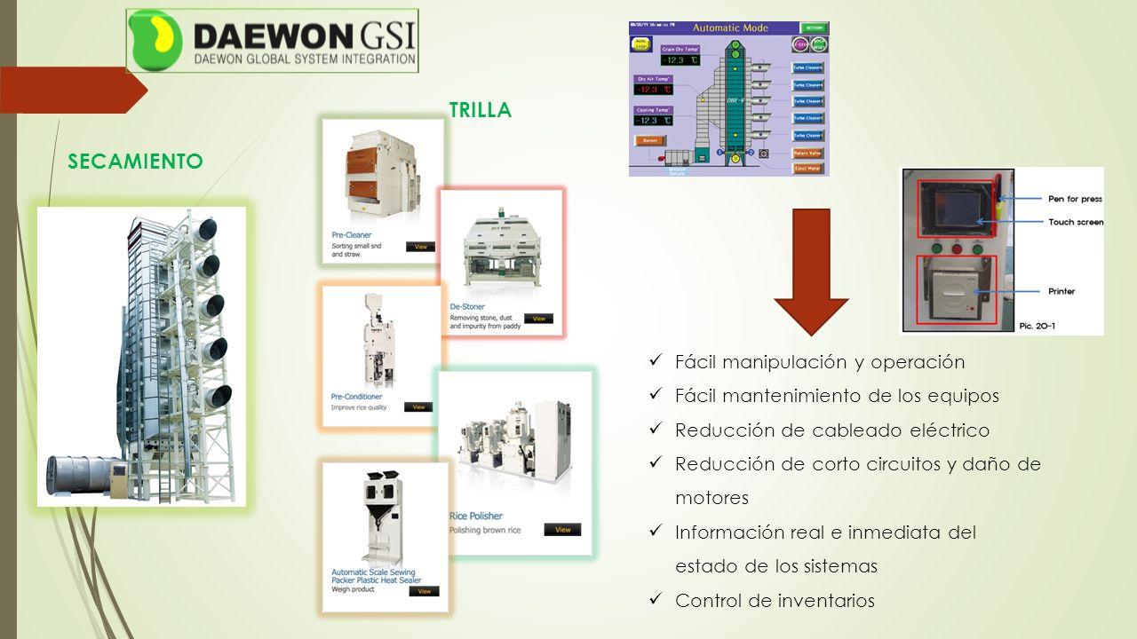 Fácil manipulación y operación Fácil mantenimiento de los equipos Reducción de cableado eléctrico Reducción de corto circuitos y daño de motores Información real e inmediata del estado de los sistemas Control de inventarios SECAMIENTO TRILLA