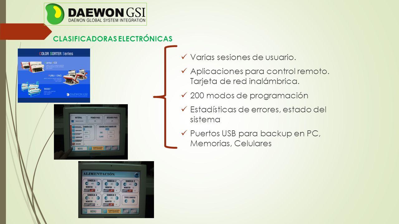 CLASIFICADORAS ELECTRÓNICAS Varias sesiones de usuario. Aplicaciones para control remoto. Tarjeta de red inalámbrica. 200 modos de programación Estadí