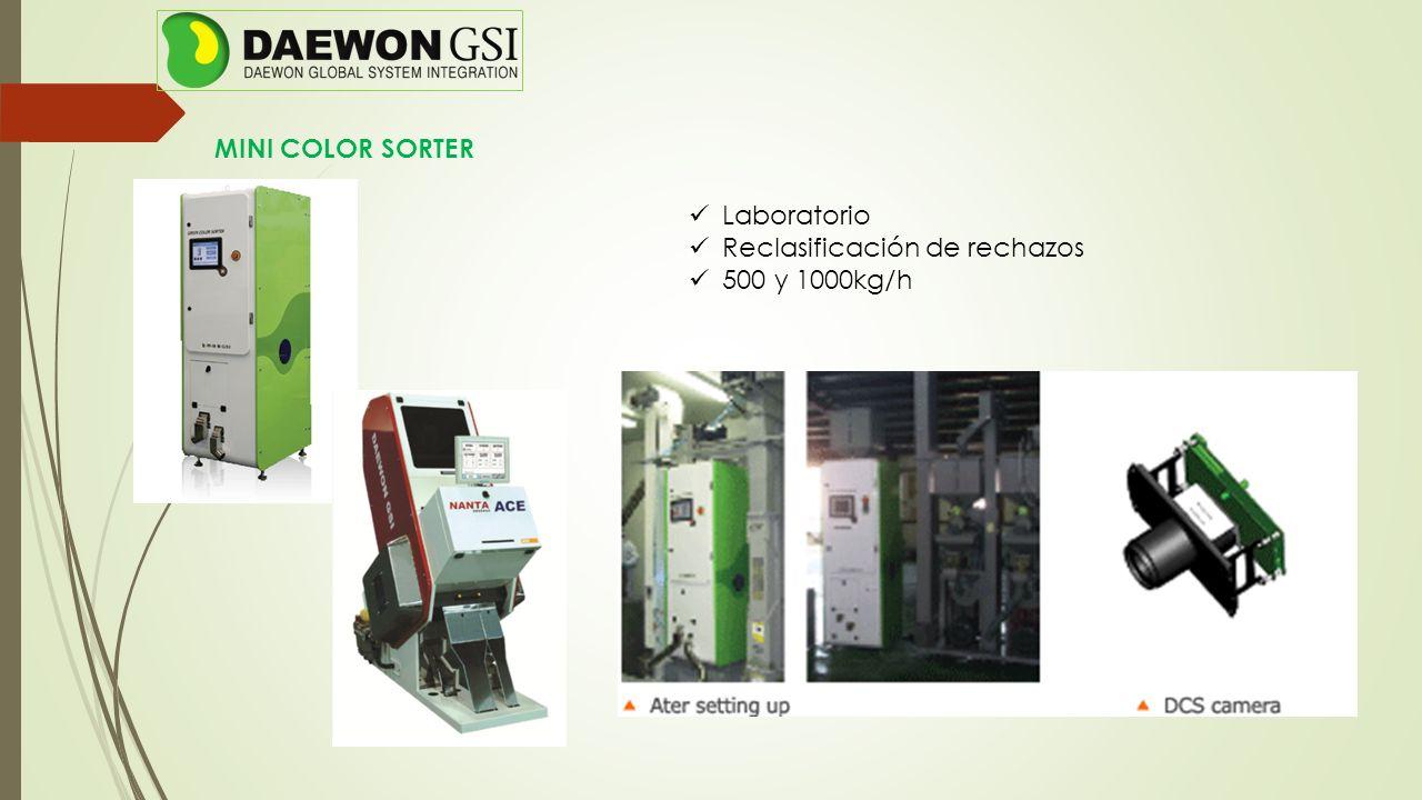MINI COLOR SORTER Laboratorio Reclasificación de rechazos 500 y 1000kg/h