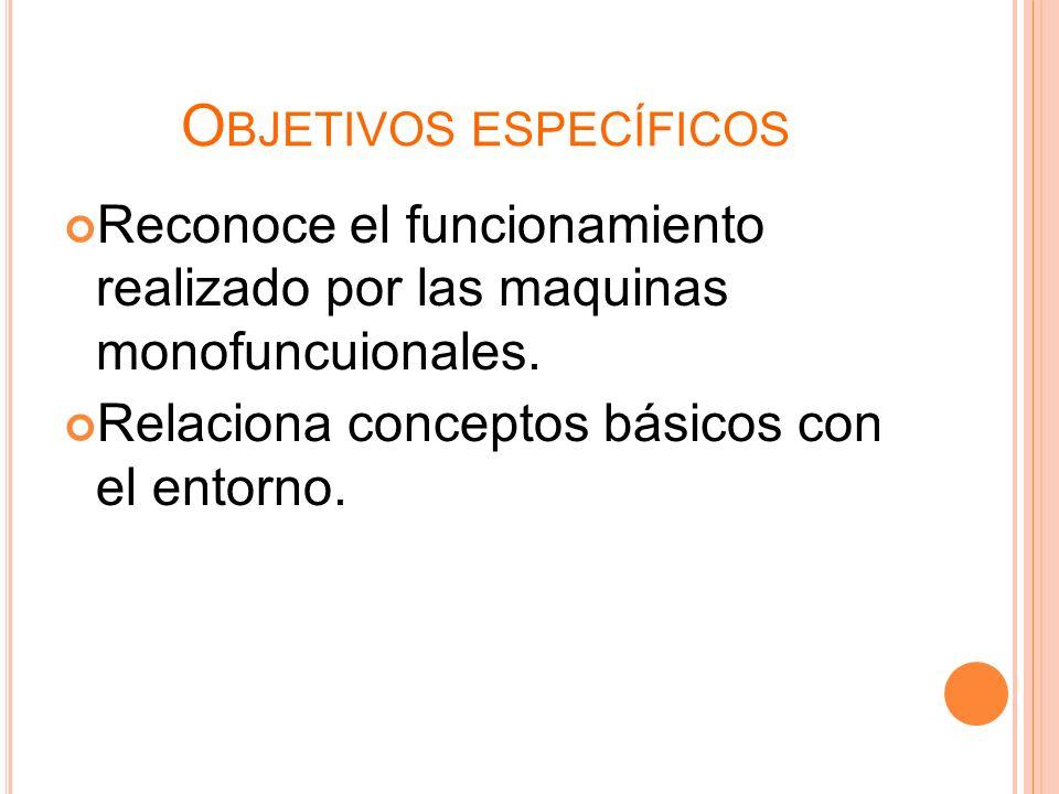 O BJETIVOS ESPECÍFICOS Reconoce el funcionamiento realizado por las maquinas monofuncuionales. Relaciona conceptos básicos con el entorno.