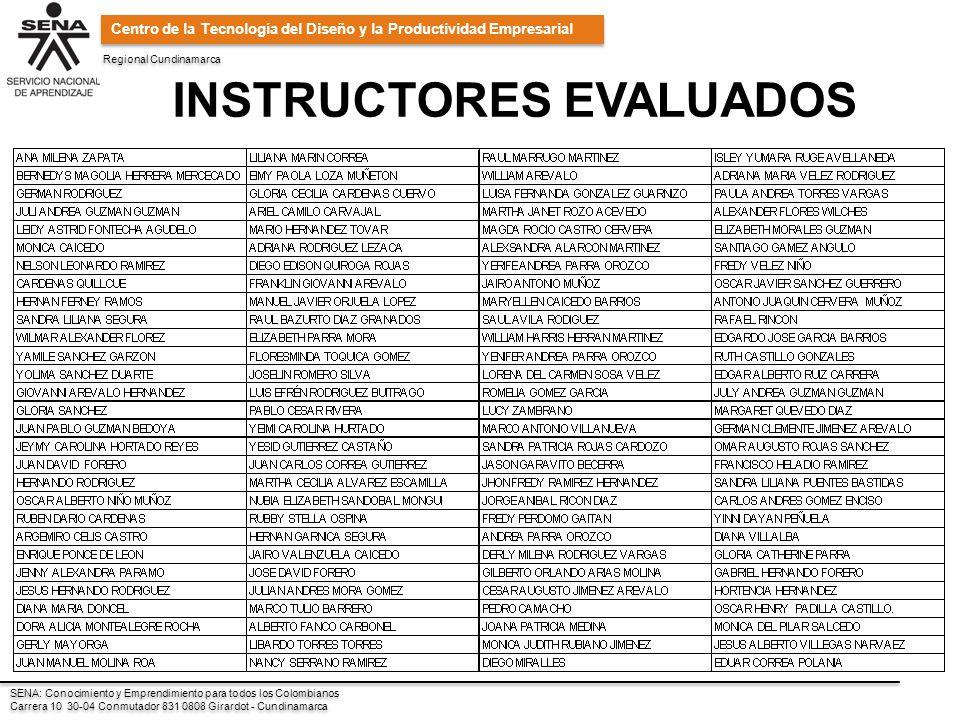 Regional Cundinamarca SENA: Conocimiento y Emprendimiento para todos los Colombianos Carrera 10 30-04 Conmutador 831 0808 Girardot - Cundinamarca SENA: Conocimiento y Emprendimiento para todos los Colombianos Carrera 10 30-04 Conmutador 831 0808 Girardot - Cundinamarca Centro de la Tecnología del Diseño y la Productividad Empresarial INSTRUCTORES EVALUADOS