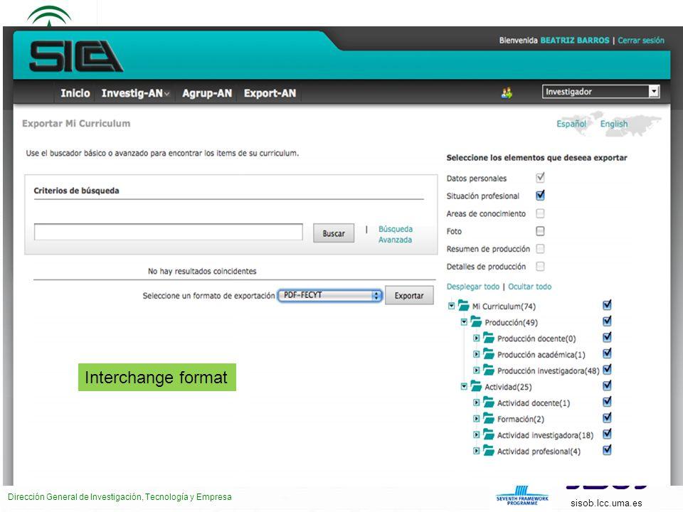 CONSEJERÍA DE ECONOMÍA, INNOVACIÓN, CIENCIA Y EMPLEO Dirección General de Investigación, Tecnología y Empresa sisob.lcc.uma.es Interchange format