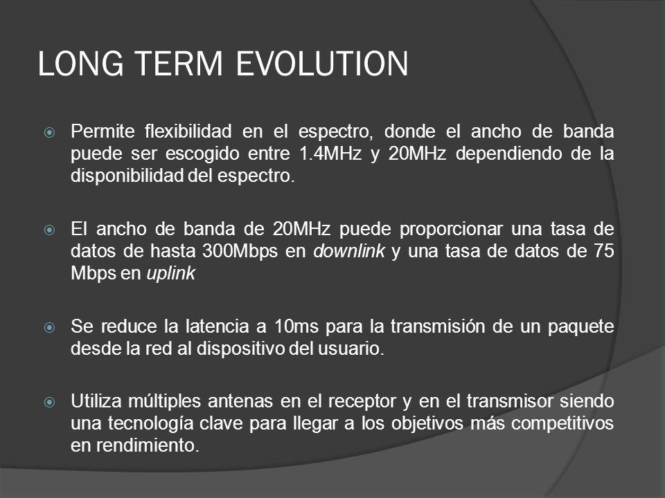 Permite flexibilidad en el espectro, donde el ancho de banda puede ser escogido entre 1.4MHz y 20MHz dependiendo de la disponibilidad del espectro. El