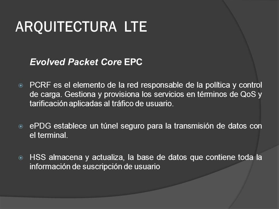 ARQUITECTURA LTE Evolved Packet Core EPC PCRF es el elemento de la red responsable de la política y control de carga. Gestiona y provisiona los servic