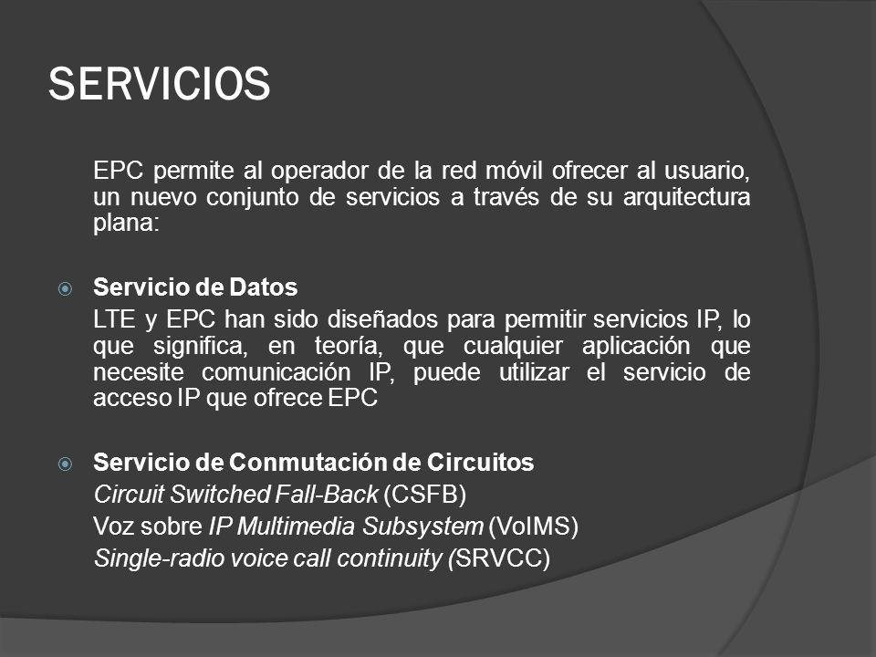 EPC permite al operador de la red móvil ofrecer al usuario, un nuevo conjunto de servicios a través de su arquitectura plana: Servicio de Datos LTE y