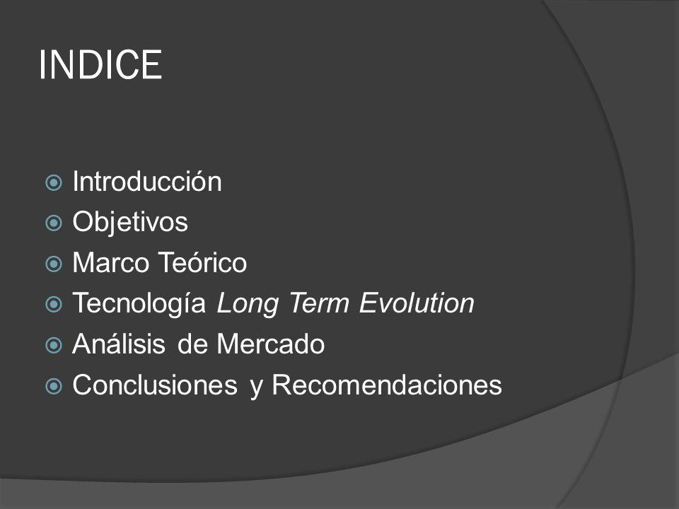 INDICE Introducción Objetivos Marco Teórico Tecnología Long Term Evolution Análisis de Mercado Conclusiones y Recomendaciones