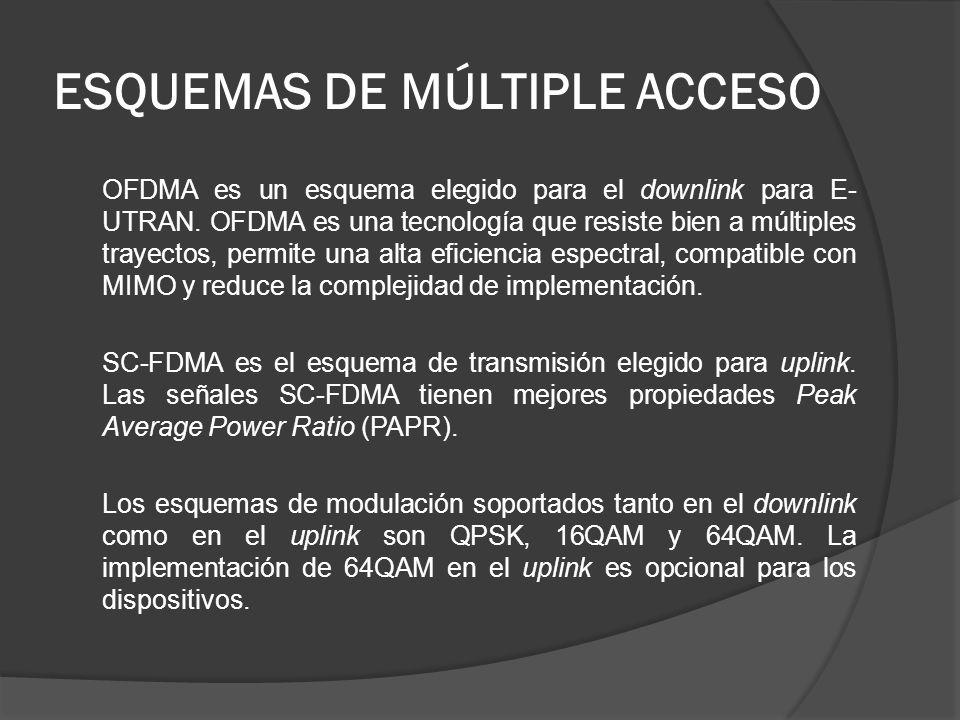 ESQUEMAS DE MÚLTIPLE ACCESO OFDMA es un esquema elegido para el downlink para E- UTRAN. OFDMA es una tecnología que resiste bien a múltiples trayectos