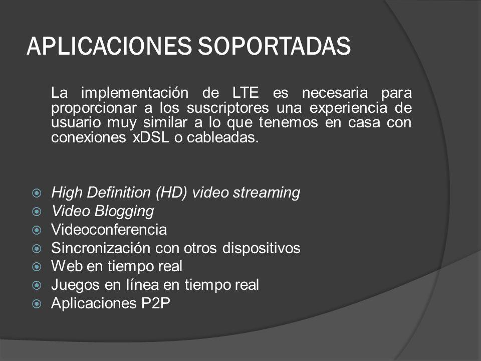 APLICACIONES SOPORTADAS La implementación de LTE es necesaria para proporcionar a los suscriptores una experiencia de usuario muy similar a lo que ten