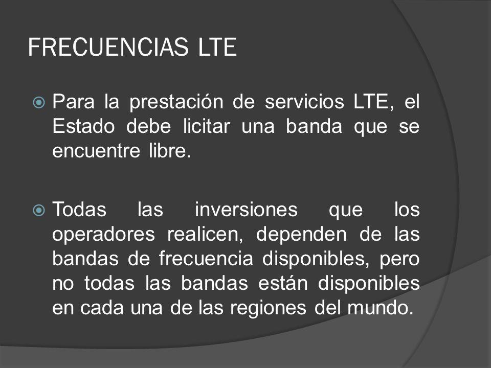 FRECUENCIAS LTE Para la prestación de servicios LTE, el Estado debe licitar una banda que se encuentre libre. Todas las inversiones que los operadores