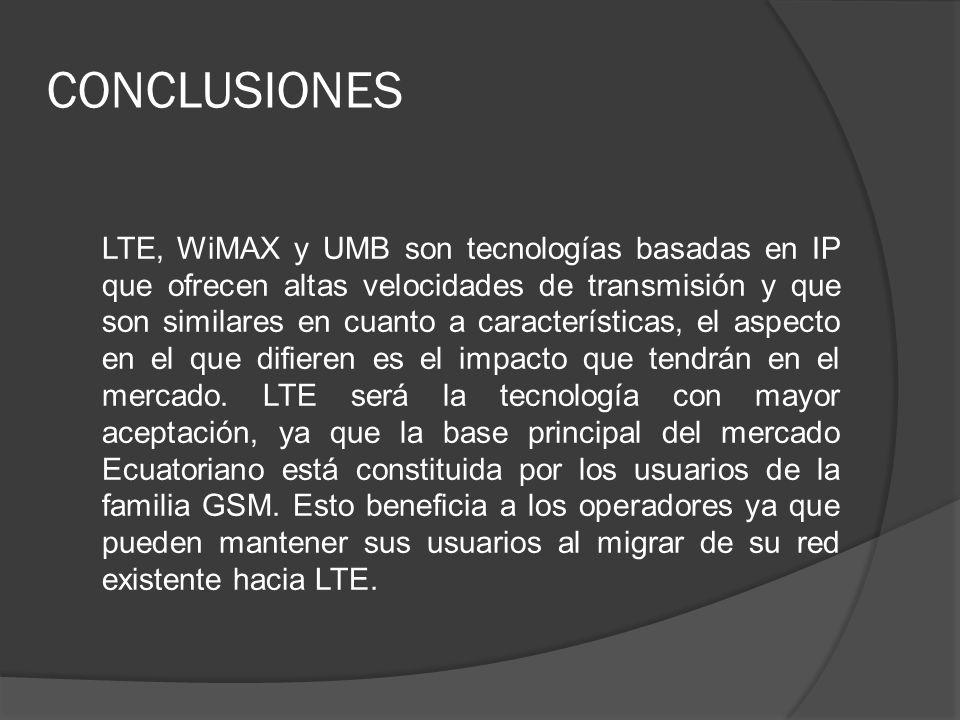 CONCLUSIONES LTE, WiMAX y UMB son tecnologías basadas en IP que ofrecen altas velocidades de transmisión y que son similares en cuanto a característic