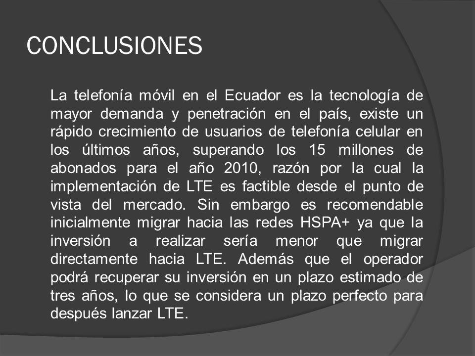 CONCLUSIONES La telefonía móvil en el Ecuador es la tecnología de mayor demanda y penetración en el país, existe un rápido crecimiento de usuarios de