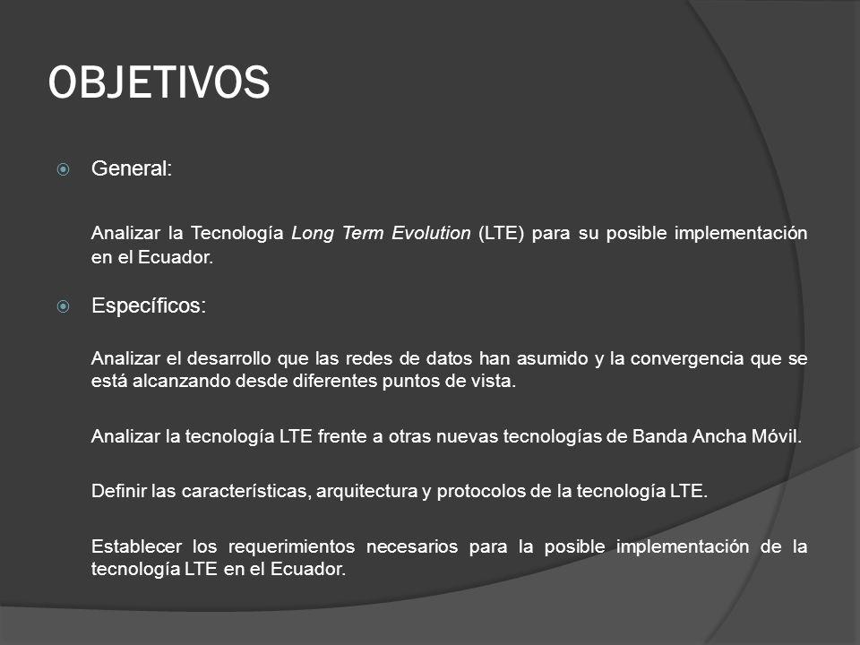 OBJETIVOS General: Analizar la Tecnología Long Term Evolution (LTE) para su posible implementación en el Ecuador. Específicos: Analizar el desarrollo