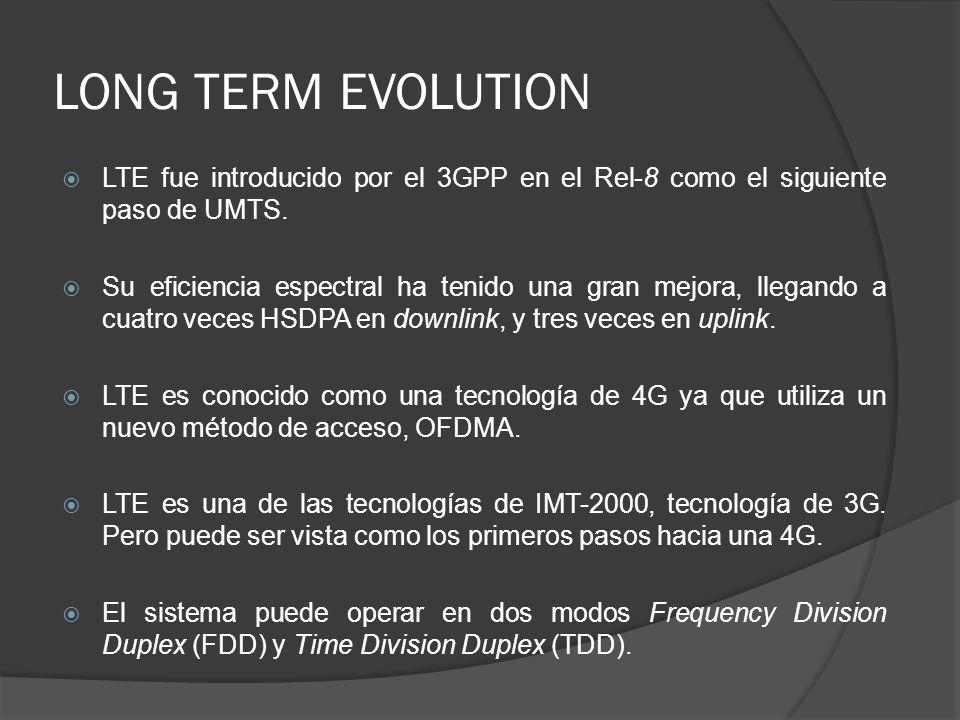 LONG TERM EVOLUTION LTE fue introducido por el 3GPP en el Rel-8 como el siguiente paso de UMTS. Su eficiencia espectral ha tenido una gran mejora, lle