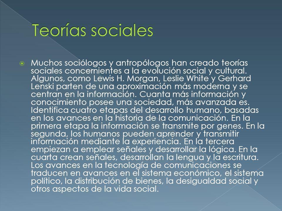 Muchos sociólogos y antropólogos han creado teorías sociales concernientes a la evolución social y cultural. Algunos, como Lewis H. Morgan, Leslie Whi