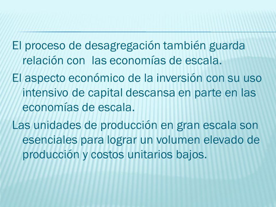 El proceso de desagregación también guarda relación con las economías de escala. El aspecto económico de la inversión con su uso intensivo de capital