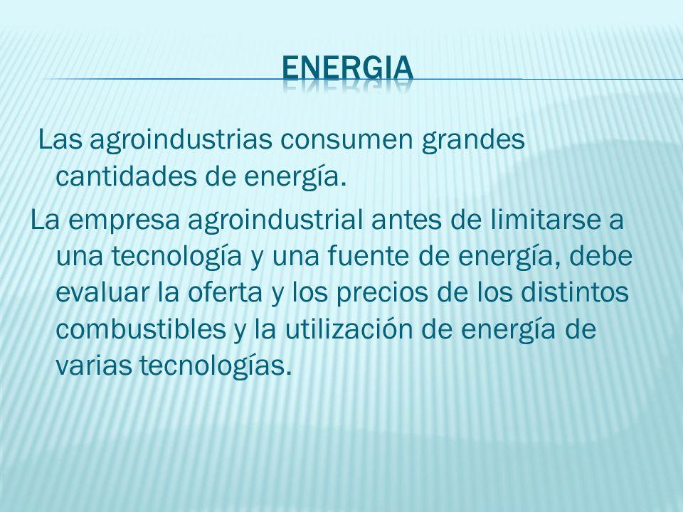 Las agroindustrias consumen grandes cantidades de energía. La empresa agroindustrial antes de limitarse a una tecnología y una fuente de energía, debe