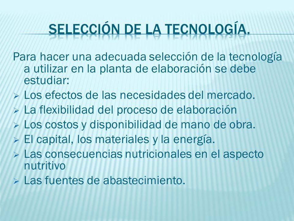 Para hacer una adecuada selección de la tecnología a utilizar en la planta de elaboración se debe estudiar: Los efectos de las necesidades del mercado