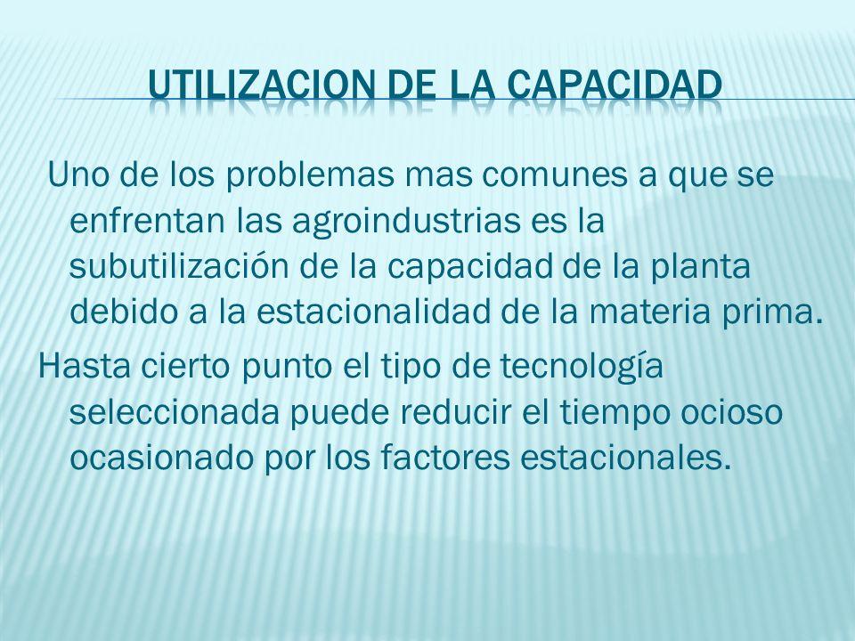 Uno de los problemas mas comunes a que se enfrentan las agroindustrias es la subutilización de la capacidad de la planta debido a la estacionalidad de