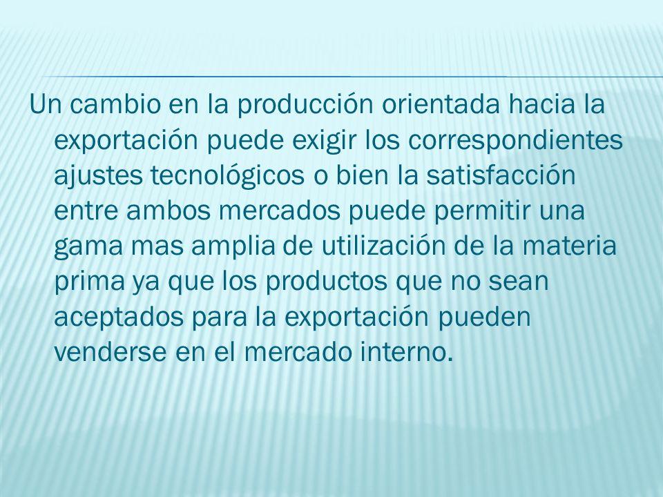Un cambio en la producción orientada hacia la exportación puede exigir los correspondientes ajustes tecnológicos o bien la satisfacción entre ambos me