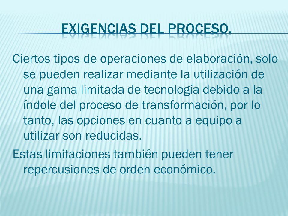 Dentro de las limitaciones que imponen las exigencias del mercado y el proceso se tratara de seleccionar aquella tecnología que minimice los costos.