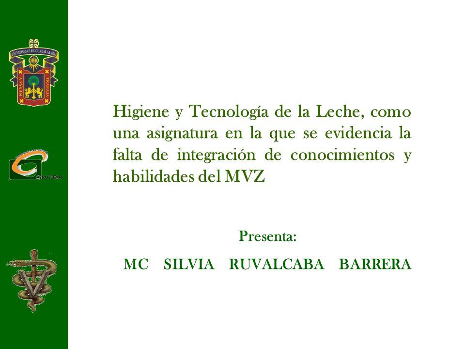 Presenta: MC SILVIA RUVALCABA BARRERA Higiene y Tecnología de la Leche, como una asignatura en la que se evidencia la falta de integración de conocimi