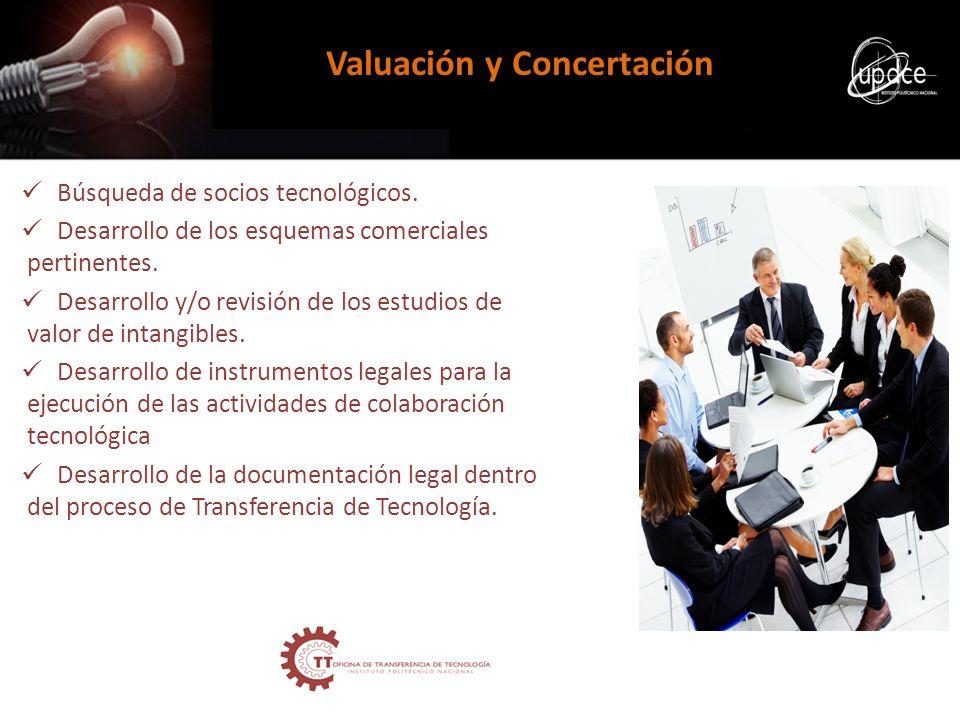 Búsqueda de socios tecnológicos. Desarrollo de los esquemas comerciales pertinentes. Desarrollo y/o revisión de los estudios de valor de intangibles.