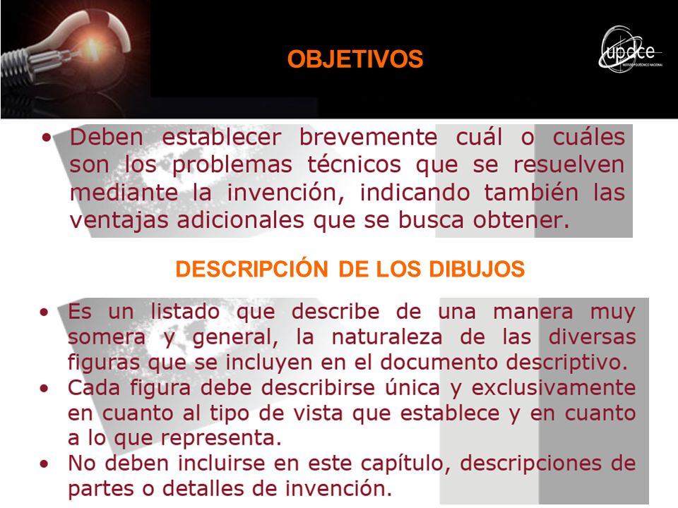 OBJETIVOS DESCRIPCIÓN DE LOS DIBUJOS