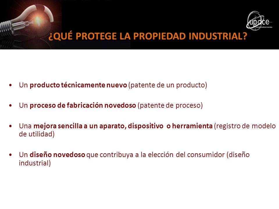 ¿QUÉ PROTEGE LA PROPIEDAD INDUSTRIAL? Un producto técnicamente nuevo (patente de un producto) Un proceso de fabricación novedoso (patente de proceso)