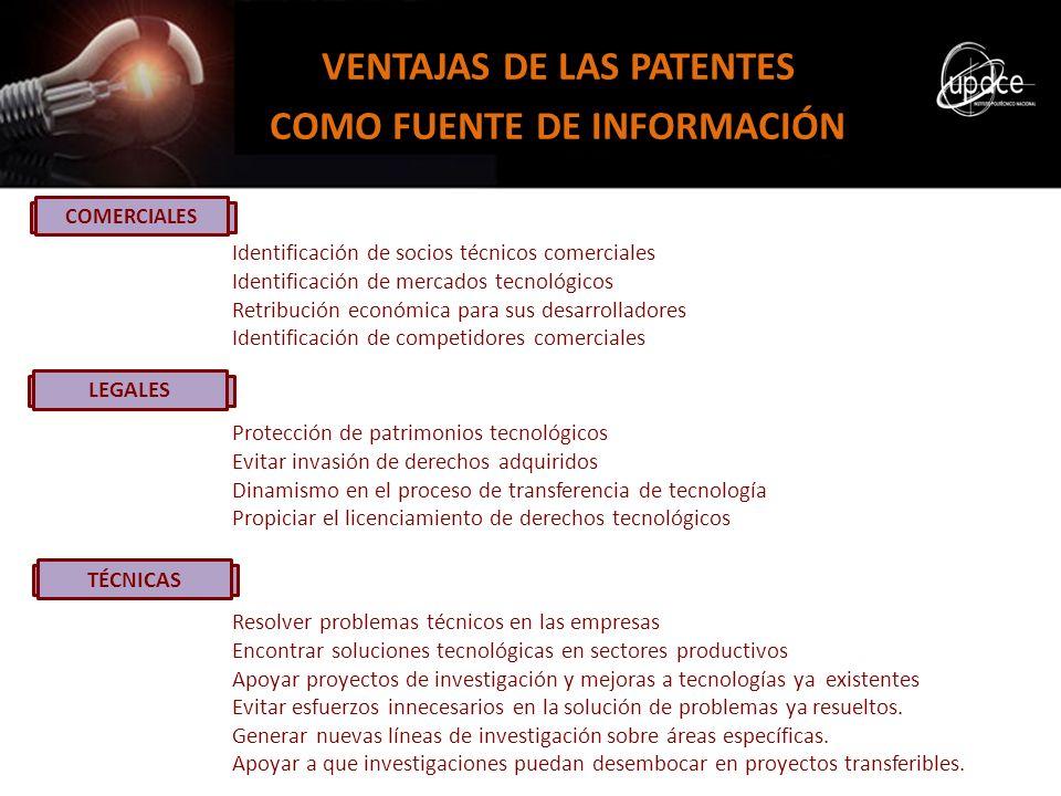 COMERCIALES VENTAJAS DE LAS PATENTES COMO FUENTE DE INFORMACIÓN Identificación de socios técnicos comerciales Identificación de mercados tecnológicos
