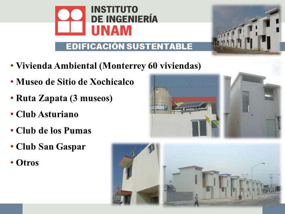 EDIFICACIÓN SUSTENTABLE Vivienda Ambiental (Monterrey 60 viviendas) Museo de Sitio de Xochicalco Ruta Zapata (3 museos) Club Asturiano Club de los Pumas Club San Gaspar Otros