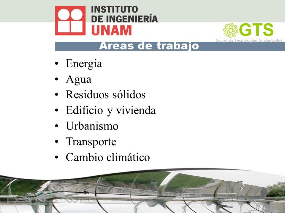 Áreas de trabajo Energía Agua Residuos sólidos Edificio y vivienda Urbanismo Transporte Cambio climático GTS Grupo de Tecnologías Sustentables