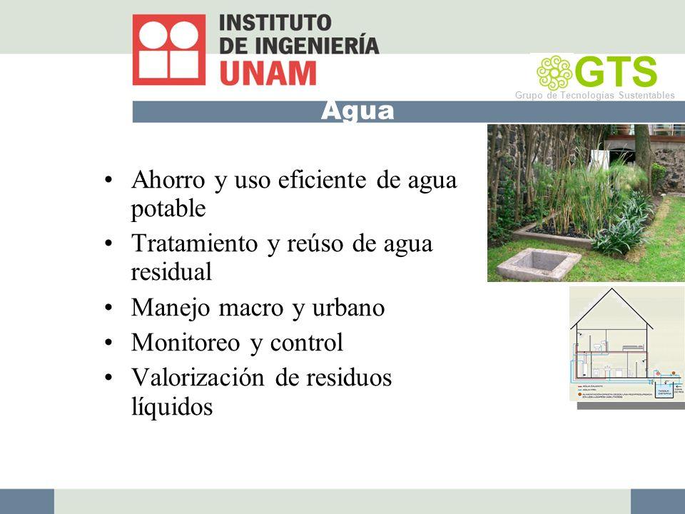 Agua Ahorro y uso eficiente de agua potable Tratamiento y reúso de agua residual Manejo macro y urbano Monitoreo y control Valorización de residuos líquidos GTS Grupo de Tecnologías Sustentables
