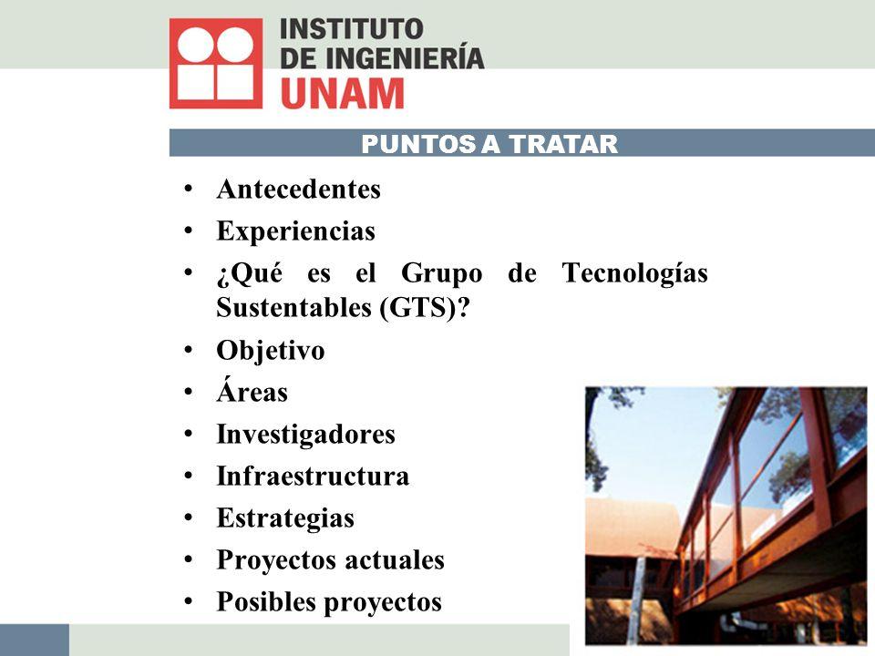 PUNTOS A TRATAR Antecedentes Experiencias ¿Qué es el Grupo de Tecnologías Sustentables (GTS).