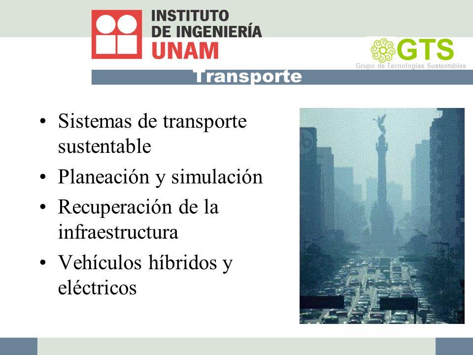 Transporte Sistemas de transporte sustentable Planeación y simulación Recuperación de la infraestructura Vehículos híbridos y eléctricos GTS Grupo de Tecnologías Sustentables