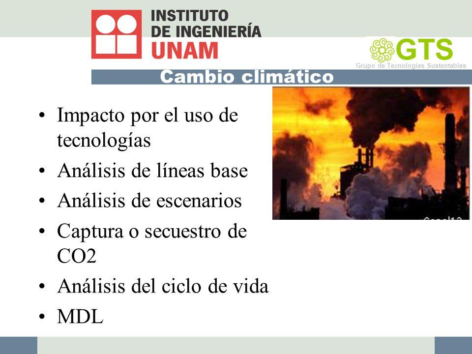 Cambio climático Impacto por el uso de tecnologías Análisis de líneas base Análisis de escenarios Captura o secuestro de CO2 Análisis del ciclo de vida MDL GTS Grupo de Tecnologías Sustentables
