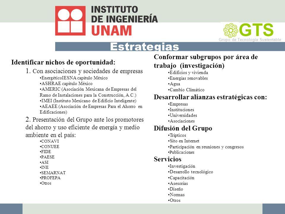 Estrategias GTS Grupo de Tecnología Sustentable Identificar nichos de oportunidad: 1.